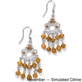 Round Birthstone Silvertone Chandelier Earrings Color Fun