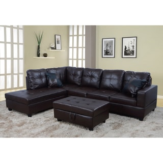 Delma 3-pc Faux Leather Left Chaise Sectional Set with Storage Ottoman