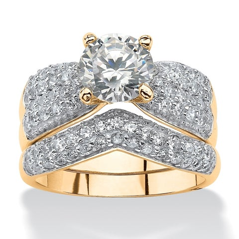 Yellow Gold over Sterling Silver Cubic Zirconia Pave Bridal Ring Set - White