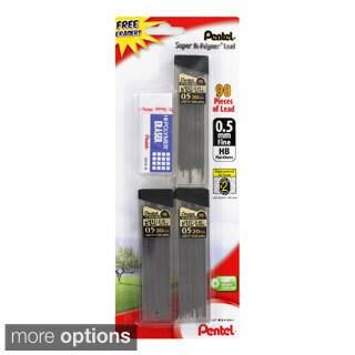 Pentel Super Hi-polymer Lead Refills with Eraser (#2 HB, 3 Tubes of 90 Leads Total)