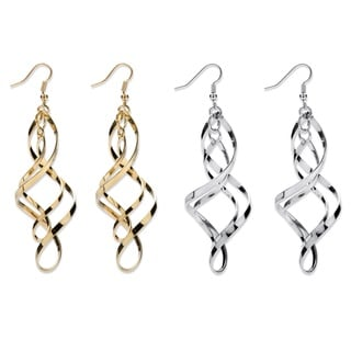 PalmBeach 2 Pair Free-Form Twist Earrings Set in Silvertone and Yellow Gold Tone Bold Fashion