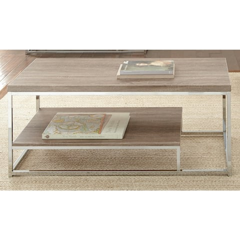 """Lennox Chrome and Faux Wood Coffee Table by Greyson Living - 47""""W s 24""""D x 20""""H"""
