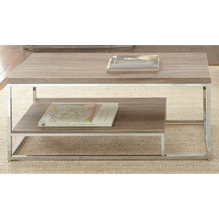 Lennox Chrome and Faux Wood Coffee Table by Greyson Living