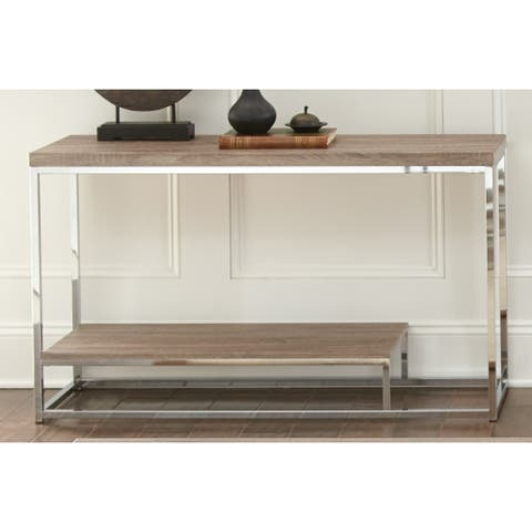 """Lennox Chrome and Faux Wood Sofa Table by Greyson Living - 47""""W x 16""""D x 29""""H"""