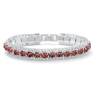 "Round Birthstone Crystal Accent Silvertone Tennis Bracelet 7"" Color Fun