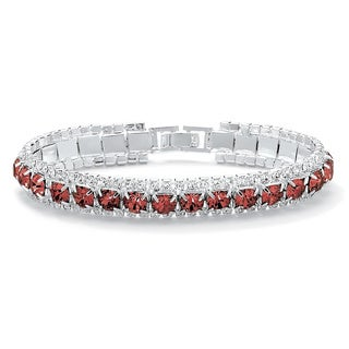 "Round Birthstone Crystal Accent Silvertone Tennis Bracelet 7"" Color Fun (More options available)"