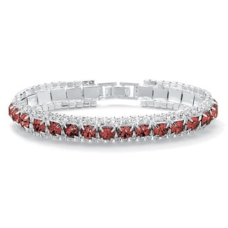 """Link to Round Birthstone Crystal Accent Silvertone Tennis Bracelet 7"""" Color Fun Similar Items in Birthstone Jewelry"""