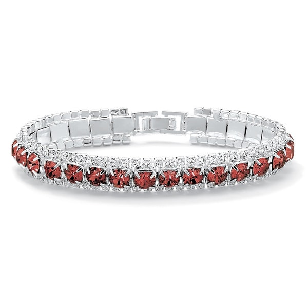 """Round Birthstone Crystal Accent Silvertone Tennis Bracelet 7"""" Color Fun. Opens flyout."""