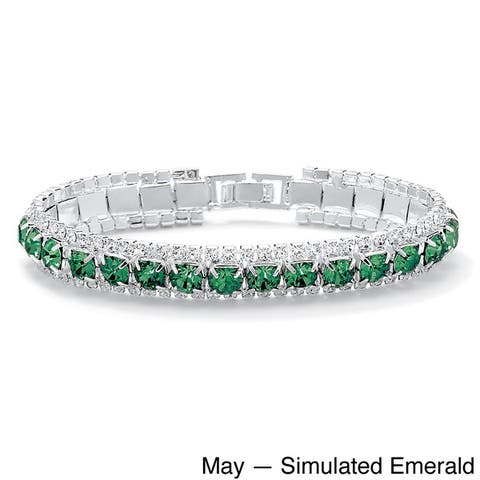 "Round Birthstone Crystal Accent Silvertone Tennis Bracelet 7"" Color Fun"