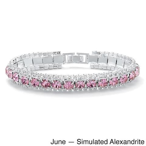 "Round Birthstone Crystal Accent Silvertone Tennis Bracelet 7"" Color Fun"