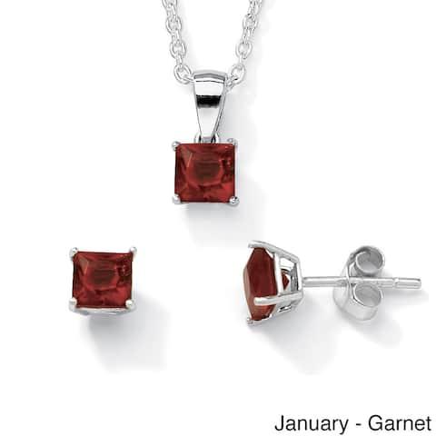 Princess-Cut Birthstone Jewelry Set in .925 Sterling Silver Color Fun