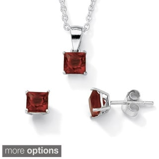 Princess-Cut Birthstone Jewelry Set in .925 Sterling Silver Color Fun
