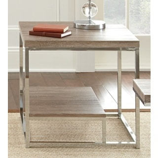 Lennox Chrome and Faux Wood End Table by Greyson Living