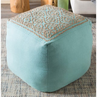 Hand-crafted Cleopatra Linen 18-inch Square Pouf