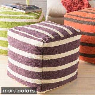 Hand Crafted Colby Striped 18-inch Square Pouf