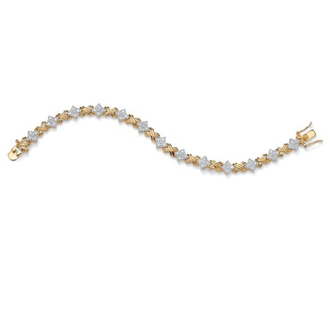 """1/2 TCW Round Diamond 14k Yellow Gold-Plated """"X & O"""" Tennis Bracelet 7 1/2"""""""