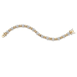 "PalmBeach 1/2 TCW Round Diamond 14k Yellow Gold-Plated ""X & O"" Tennis Bracelet 7 1/2"""