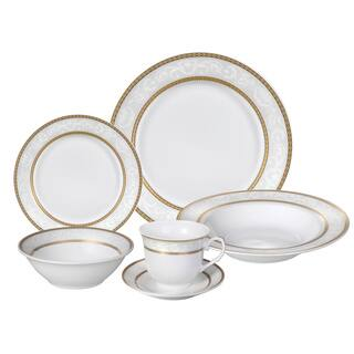 Lorren Home Trends Amelia Porcelain Dinnerware Set Service For 4