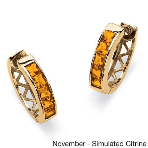 Channel-Set Birthstone Gold-Plated Hoop Earrings Color Fun