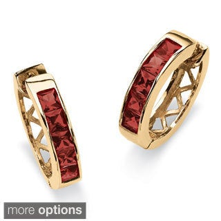 Channel-Set Birthstone Gold-Plated Hoop Earrings Color Fun