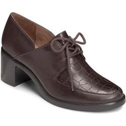 Women's Aerosoles Endearing Oxford Dark Brown Croco Faux Leather