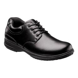 Men's Nunn Bush Stu Work Oxford Black Tumbled Leather