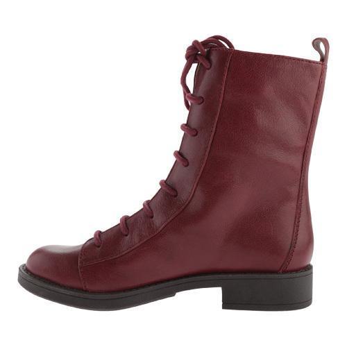 Women's Nine West Froyo Combat Boot Dark Red Leather - Free ...
