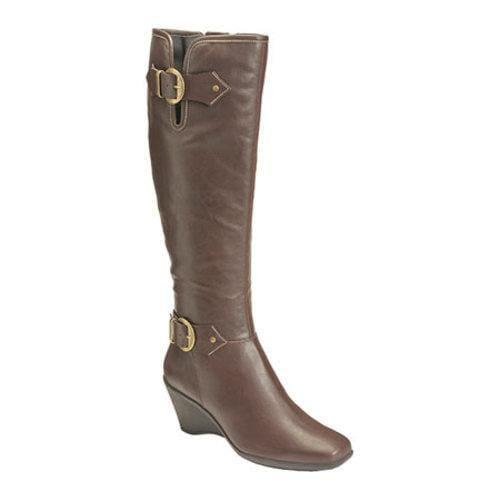 Women's Aerosoles Wonderful Wide Calf Boot Brown Faux Leather