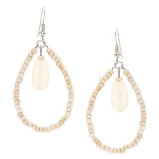 Kele & Co. Cream Glass Bead Teardrop Earrings