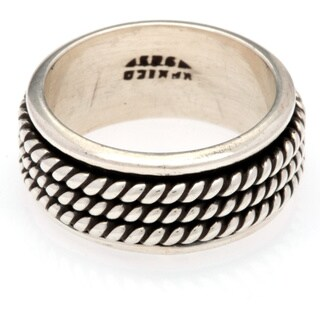 Kele & Co. Sterling Silver Braided Spinner Ring