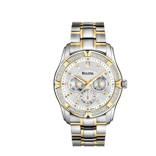 Bulova Men's 98E112 Multi-Dial 16 Diamond Bezel Gold and Silver tone Watch