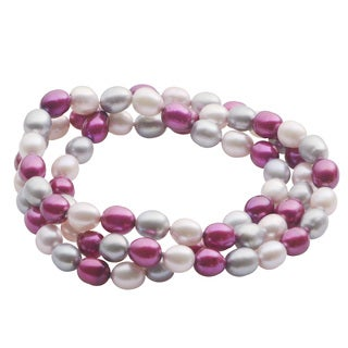 Pearls For You 7.5-inch 3-strand Plum Lavender Grey Twist Stretch Bracelet (7-7.5 mm)