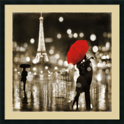 Framed Art Print 'A Paris Kiss' by Kate Carrigan 34 x 34-inch