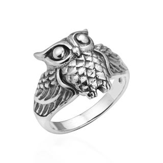 Handmade Inspiring Wise Owl .925 Sterling Silver Ring (Thailand)
