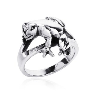 Handmade Cute Relaxing Frog .925 Sterling Silver Ring (Thailand)