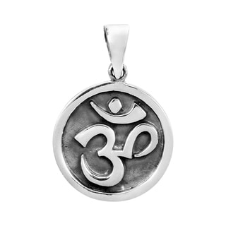 Handmade Round Stand Out Aum or Om Prayer Sign .925 Silver Pendant (Thailand)