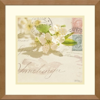 Framed Art Print 'Vintage Letter and Apple Blossoms' by Deborah Schenck 15 x 15-inch