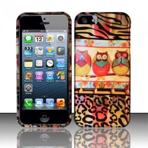 INSTEN Owl Colorful Cute Cartoons Rubberized Hard Plastic Phone Case Cover for Apple iPhone 5/ 5S/ SE