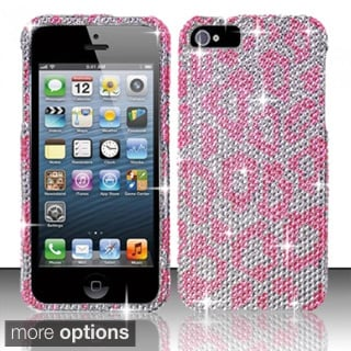 INSTEN 3D Diamond Beads Shinny Leopard Hard Plastic Phone Case Cover for Apple iPhone 5/ 5S/ SE