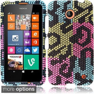 INSTEN 3D Diamond Beads Shinny Leopard Hard Plastic Phone Case Cover for Nokia Lumia 635