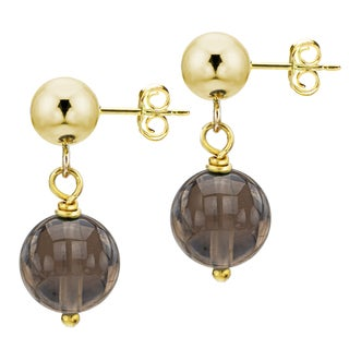 DaVonna 14k Yellow Gold Brown Smoky Quartz Dangle Earring (10 mm)