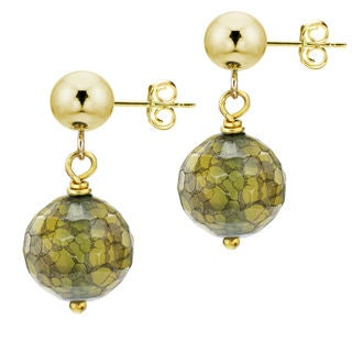 DaVonna 14k Yellow Gold Green Agate Dangle Earrings