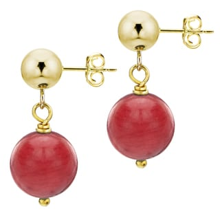 DaVonna 14k Yellow Gold Red Coral Dangle Earring (8 mm)