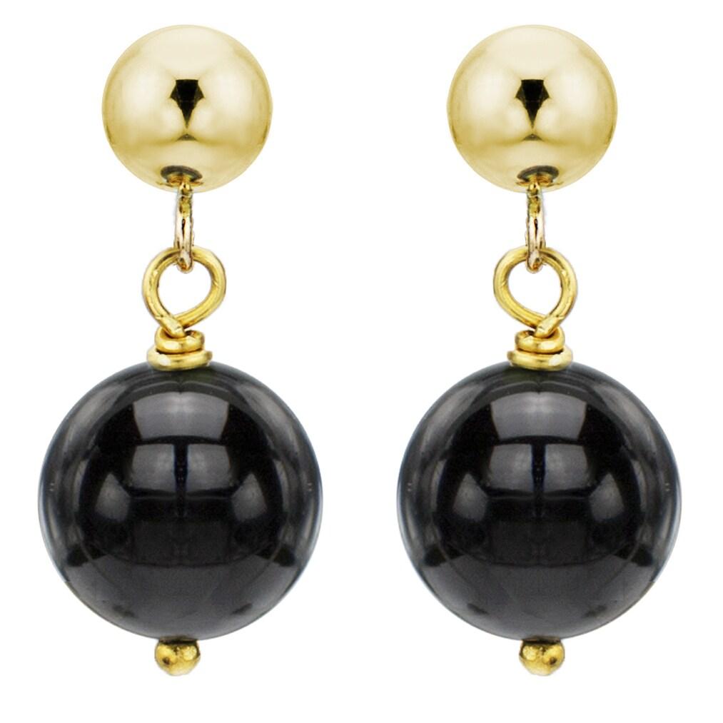 14K White Gold Gemstone Studs With Round Black Onyx