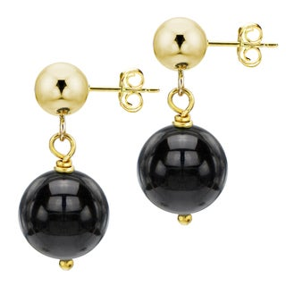 DaVonna 14k Yellow Gold Round Black Onyx Dangle Earring (8-9 mm)