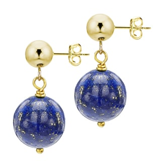 DaVonna 14k Yellow Gold 8mm Round Blue Lapis Dangle Earring