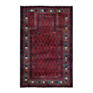 Herat Oriental Afghan Hand-knotted Tribal Balouchi Red/ Navy Wool Rug (2'8 x 4'2)