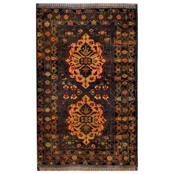 Herat Oriental Afghan Hand-knotted Tribal Balouchi Wool Rug (2'9 x 4'6) - 2'9 x 4'6