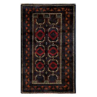 Herat Oriental Afghan Hand-knotted Tribal Balouchi Navy/ Ivory Wool Rug (2'8 x 4'4)