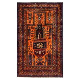 Herat Oriental Afghan Hand-knotted Tribal Balouchi Coral/ Purple Wool Rug (2'5 x 4'1)